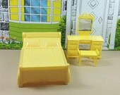 "MARX BED and VANITY with Bench, 3/4"" Traditional Style, Soft and Hard Plastic, 1960's ""Marxie Mansion"", Vintage Tin Dollhouse Furniture"
