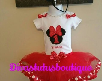 Minnie Mouse tutu set/ Minnie Mouse birthday tutu set/ 1st birthday outfit, minnie mouse tutu dress/ personalized tutu set