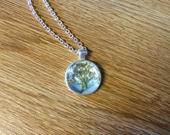 Pressed Flower Necklace in White and Blue