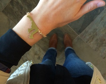 Maryland State Cutout Bracelet w/ Gold Chain