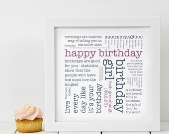 Personalised Birthday Print; Birthday Gift For Her; Birthday Print; Gift For Women; Gift For Her; Gift For Friend; PAP325