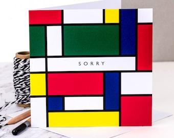 Sorry Card; Sympathy Card; Sorry; Apology Card; Mondrian; Card For Art Lover; Art Card; GC209