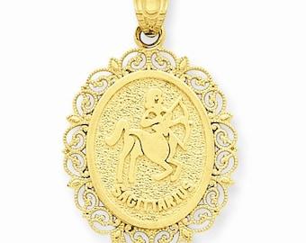 14K Solid Yellow Gold Sagittarius Zodiac Horoscope Oval Pendant Charm LKQC2851