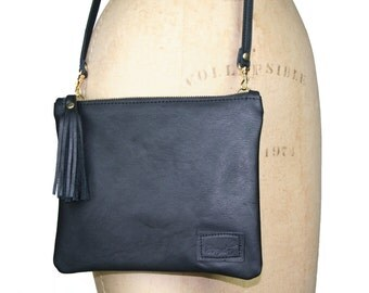 Black Leather Crossbosy, leather purse with tassel