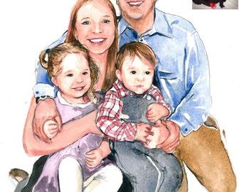 WATERART* Art commissioning, Custom portrait, Family portrait, Original Watercolour painting
