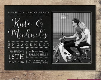 Printable Black and White Engagement Invitation with Photo / Customisable Digital File / JPG or PDF