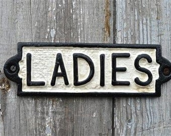 Vintage style cast iron Ladies toilet sign PP3