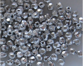 FIRE POLISH Beads, 2.5mm, Argentees Silver, 00030/27000, sold in units of 200 beads.