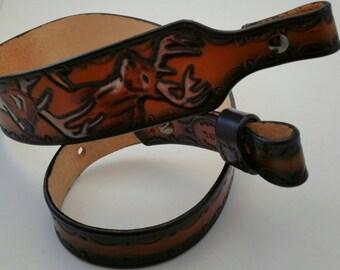 Rifle Sling - handmade Leather - Deer Design