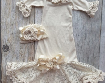 Cream Vintage style infant gown, baby girl gown, dedication gown, christening gown, infant gown, boutique gown, baby shower, take home set