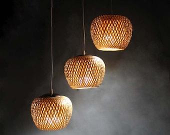 New Bamboo Lamp Fixtures-Pendant Lights-Chandelier-Ceiling Lighting-Bar Counter Lighting-Decor Lights-Dining Room Lamp-3 Lamp Holders