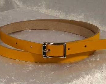 Yellow leather belt with 1/2 inch nickel buckle Made to Order