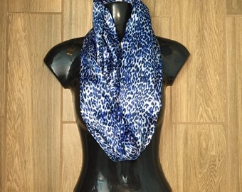 Long Satin Infinity Scarf - Blue and Silver Animal Print - STUNNING