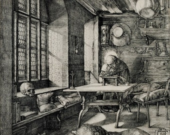 Albrecht Durer: Saint Jerome in his Study. Fine Art Print/Poster. (003650)