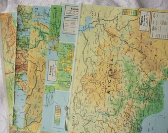 Vintage Oxford Atlas Pages, set of 15  vintage map pages, map ephemera, atlas ephemera