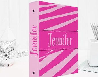 Personalized binder, zebra print 3 ring binder, back to school supplies, school binder, binder organizer, office organizer