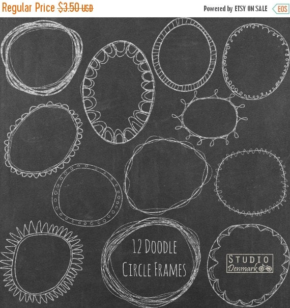 Sale Chalk Doodle Circle Frames Clipart Hand Drawn Circle Clip Art
