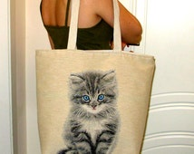 """Tote Bag """"Kitty Cat"""", Cat Tote Bag, Fabric Handbags, iPod Tote, Big Beach Bags, Tablet Hand Bag, Travel Bags, Great Gift for Birthday."""