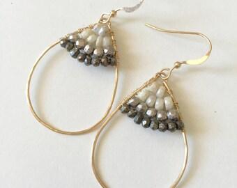 SEDONA Silverite - 14k Gold fill beaded hoop earrings wirh silverte and pyrite, two tone dual tone gold hoop earrings