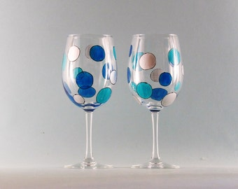 Hand Painted Wine Glasses - Circles in Turquoise and Aqua Blue - Mod Retro Design - Set of Two