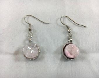 Silver Pink quartz earrings
