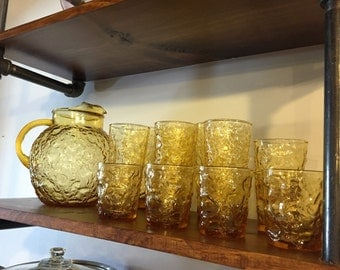 Anchor Hocking Lido Milano Amber Glass Pitcher & matching glasses