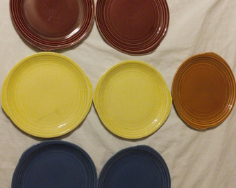 Vintage 1937, 1938 Edwin M. Knowles Yorktown Shape Salad Plates. Yellow, Blue, Mauve, Brunt Orange, Fiesta Colors, Vintage China