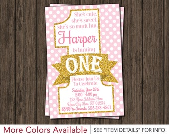 Pink and Gold First Birthday Invitation - Polka Dots 1st Birthday Invitations