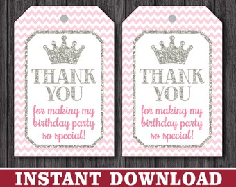 Princess Birthday Favor Tags - Princess Thank You Party Favor Tags - Printable Digital File - INSTANT DOWNLOAD
