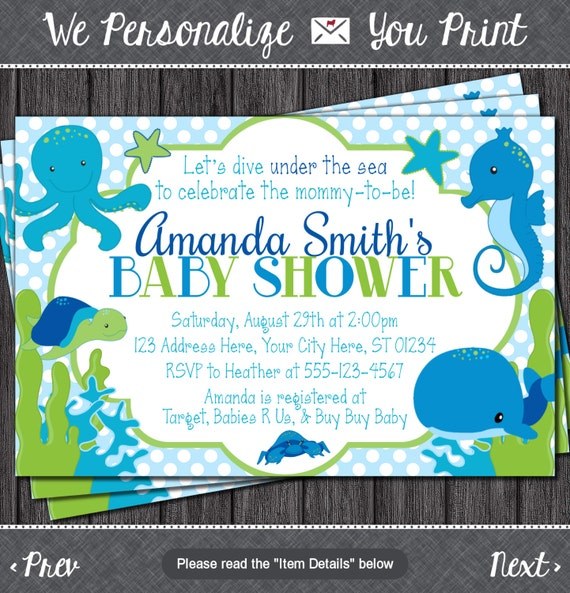 under the sea baby shower invitation by puggyprints on etsy