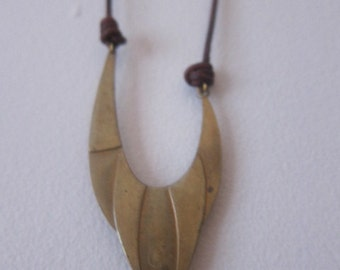 Bronze Funky Pendant on Waxed Brown Leather, Short