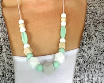 Wood and White/Mint/Grey Silicone Baby Teething Necklace