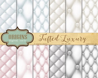 Tufted Digital Paper - Luxury Quilted backgrounds, tufted upholstery bridal wedding scrapbook paper, tufted background