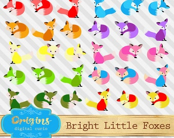 Bright Little Foxes Clip art - cute baby fox clipart, forest animals, woodland fox vector eps png commercial use instant download