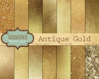 Gold Digital Paper, Antique Golden Textures, Backgrounds, Gold Glitter, Gold Foil Scrapbook Paper Pack, Instant Download Commercial Use