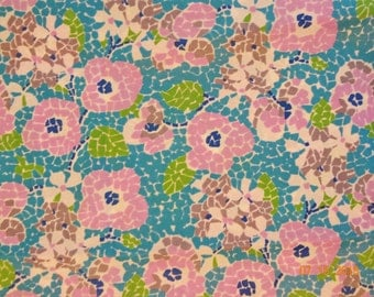 "2 3/4 Yards Floral Print Polyester Fabric - Approx. 44"" wide"