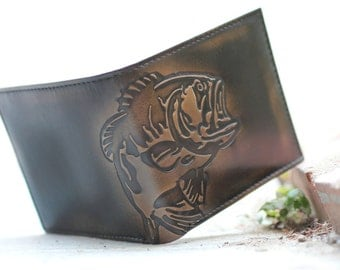 BASS FISH Double ID Bifold Wallet • Men's Leather Wallet • Personalized Wallet • Men's Gifts