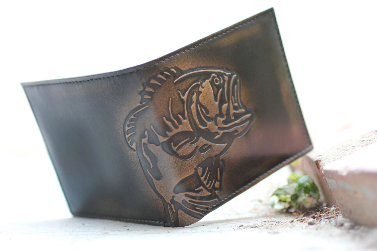Bass Fish Double Id Bifold Wallet Men S Leather Wallet