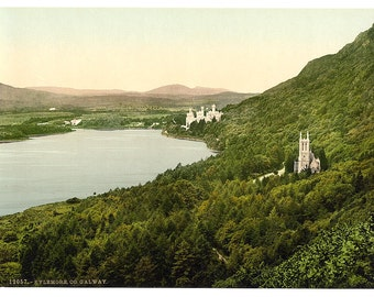 Kylemore. County Galway, Ireland] 1890. Vintage photo postcard reprint 8x10-up. Ireland County Galway