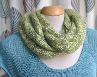 Silk Infinity Scarf, loop scarf, cowl scarf, green handknitted scarf
