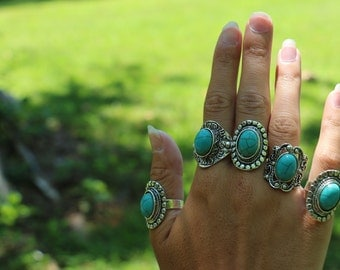 Antique Silver Turquoise Adjustable Rings