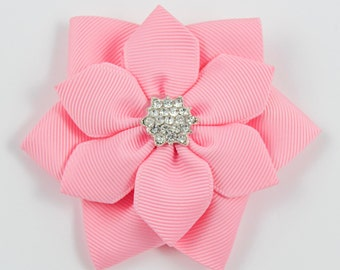 Pink Hair Bow, Pink Bow, Pink Flower Hair Bow, Pink Flower Bow, Pink Flower Hair Clip (Item #10291)