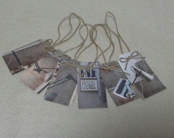 6 x Modern Look Beige/Brown/Grey Luggage-style Gift Tags