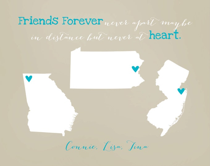 Best Friends Christmas Gifts, Three Best Friends, Best Friend Long Distance, Personalized State Maps, 3 Friends, Going Away, Sorority Sister