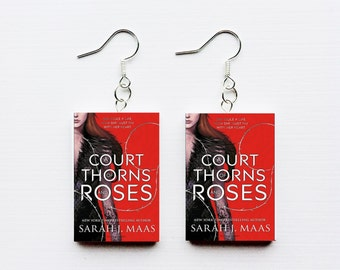 Court of Thorns and Roses mini book earrings