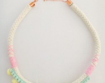 Baby yellow and aqua pom pom necklace