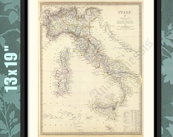 Italy 1840, before Unification of the various States, Italian History Art, Historical Map, Historical Print, Historical Art, Italian Gift