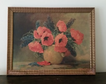 Vintage Max Streckenbach Signed Poppies Print