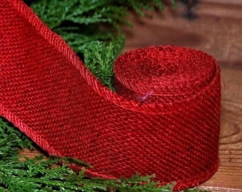 "2"" RED BURLAP Ribbon Garland ... 10 feet long - Crafts - Bows"