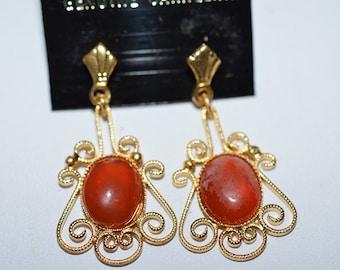 Vintage, Elegant Carnelian Filigree Earrings (1017381)